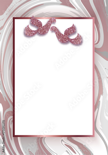 Geometric wedding invitation, marble texture, background in trendy ...
