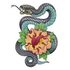 snake and peony flower