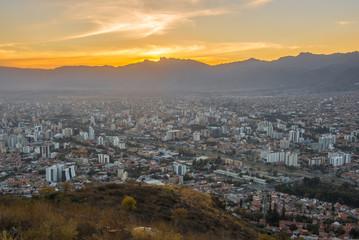 Cochabamba City seen from San Pedro Hill at sunset, Bolivia