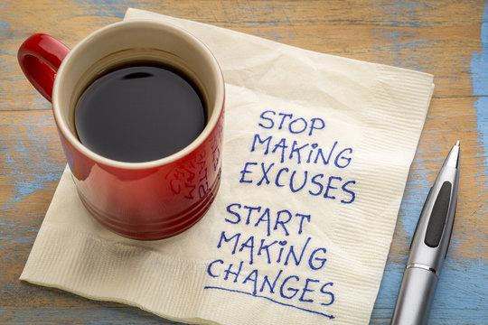 Stop making excuses - reminder note