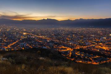 Cochabamba City seen from San Pedro Hill at night, Bolivia
