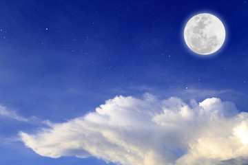 Blue night with full moon  over cloud background. Romantic concept.