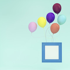 Colorful Balloons Floating with blue picture frame on light blue pastel background. minimal concept idea.