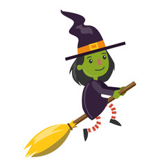 Cartoon green witch.