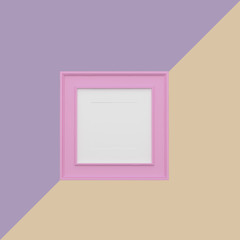 Pink picture frame on purple and orange pastel background. minimal concept idea.