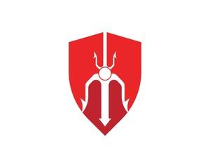 Trident shield  Logo Template vector icon illustration design