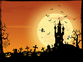 Halloween vector border cartoon background ( pumpkin , children , party )
