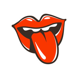 Lips, mouth, protruding tongue symbol or icon. Seduction, kiss, erotic, seduction, sex label. Cartoon vector illustration