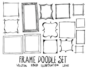 Hand drawn frame isolated. Vector sketch black and white background illustration icon doodle eps10