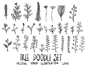 Hand drawn floral isolated. Vector sketch black and white background illustration icon doodle eps10