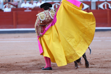 Wall Murals Bullfighting Torero y toro en la plaza
