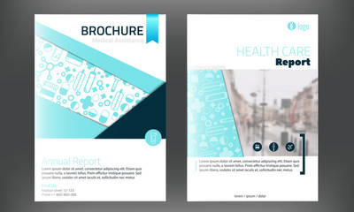Medical Brochure Cover Template in blue colorwith blured photo on background. Flyer with inline medicine icons, Modern clean Infographic Concept for annual report. Vector