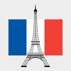 eiffel tower and flag of France