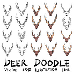 Hand drawn deer isolated. Vector sketch black and white background illustration icon doodle eps10