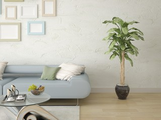 Mock up a comfortable living room with a modern sofa on the background of decorative plaster.