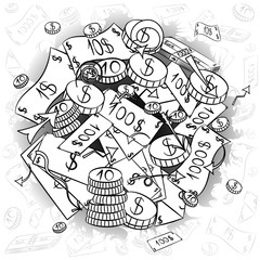 Hand Drawn Banknotes and  Coins. Doodle Drawings of Cash Arranged in a Circle. Sketch Style. Vector Illustration.