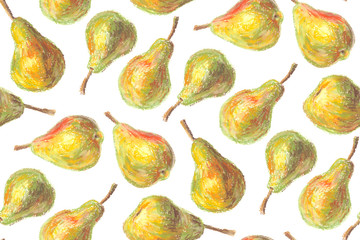 Crayon pears seamless pattern. Hand drawn artistic fruit repeatable background with oil pastels. Colorful illustration.