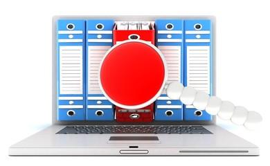 computer documents folder . 3d Render Illustration.