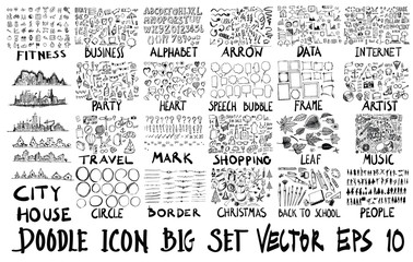 MEGA set of doodles vector. Super collection of fitness,business,font,arrow,info,city,party,travel,heart,bubble,frame,art,mark,shopping,leaf,border,christmas,school,human,music,internet eps10