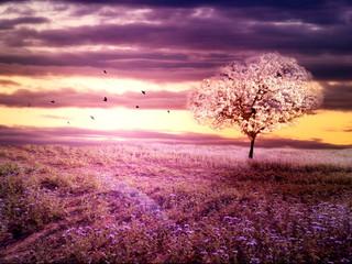 Romantic purple landscape