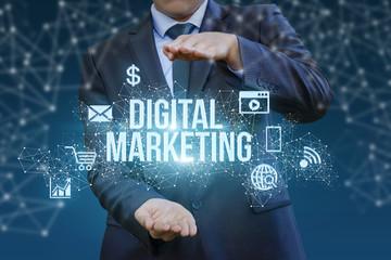 Digital marketing showing a businessman in hands .
