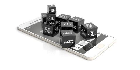 Black Friday online sale. Sale cubes on a smartphone. 3d illustration