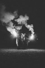 krampus with burning bengal light on a meadow
