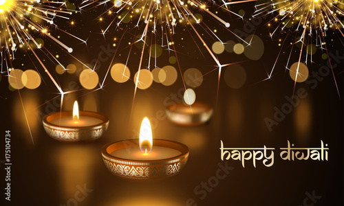 happy diwali indian deepavali hindu festival of lights holiday greeting card template vector gold candle