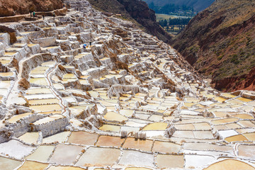 """Terraced salt pans known as """"Salineras de Maras"""" in Cusco Region, Peru"""