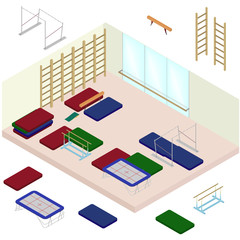 Isometric artistic gymnastics room with tools. Set of sporting elements