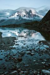 Mountain reflection in Lake Blanc