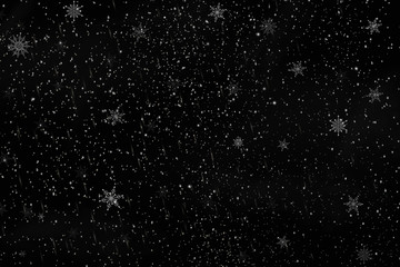 Fotomurales - Falling Christmas snow on a black background. Snowflakes, snowfall. Vector illustration.