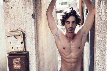 Topless Man Urban Outdoor