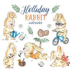 Set of watercolor Holliday rabbit, isolated on a white isolated background
