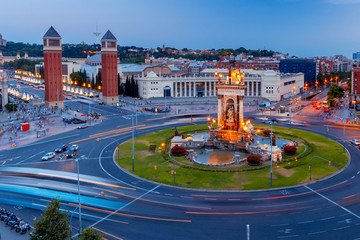 Barcelona. Square of Spain at sunset.