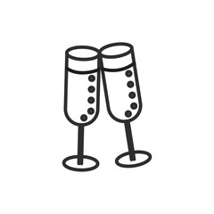 cheers,wine glasses vector line icon, sign, illustration on white background, editable strokes