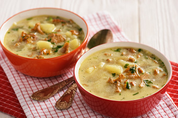 Vegetarian cuisine - soup with potatoes and chanterelles mushroom.