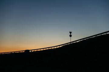 sunset on highway