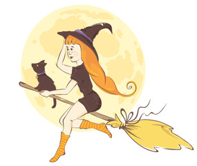 Modern witch / Red-haired girl on a broom with a black cat, vector illustration