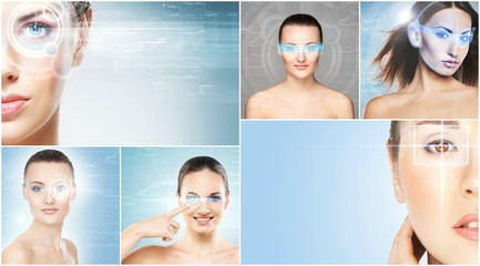 Women with a digital laser hologram on their eyes collection. Ophthalmology, eye surgery and biometric scanning technology concept collage.