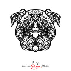 Pug. Black and white graphic drawing of a dog.