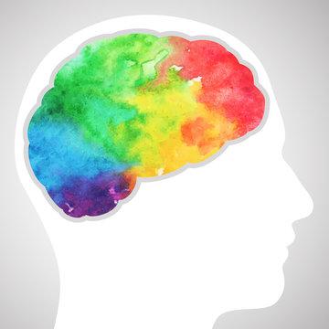 Watercolor rainbow brain
