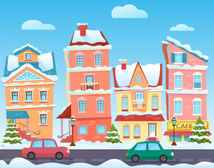 Vector Sunny cute cartoon City street at Winter. Cartoon buildings. Christmas background with urban houses and shops. Christmas town illustration.