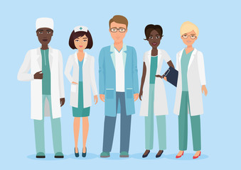 Vector Cartoon illustration of Hospital medical staff team, doctors and nurses characters. Medical concept.