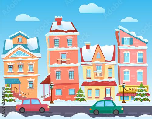 Vector Sunny cute cartoon City street at Winter Cartoon buildings