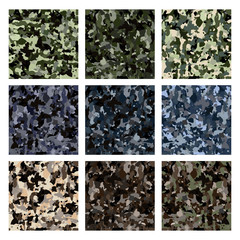 army khaki background. camouflage seamless pattern. collection of different colors of khaki
