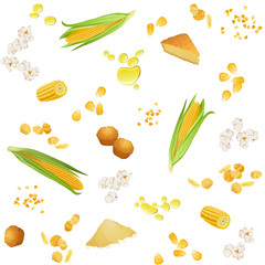 Seamless pattern with corn foodstuff / There are corn ears, grains, oil, pie, cookies, grits, flour, popcorn and flakes