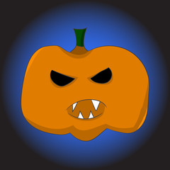 image of an orange pumpkin with a terrible mug in a cartoon style. illustration on a theme of halloween. vector illustration. hand drawing