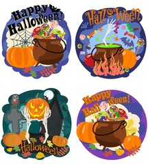 Celebration and congratulations with Halloween, thematic pictures. Vector illustration