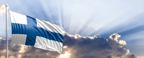 Finland flag on blue sky. 3d illustration